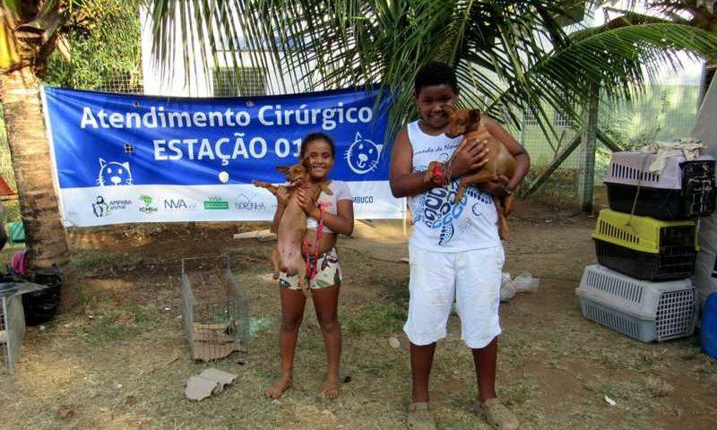 Moradores da ilha levam animais para castração gratuita — Foto: Ana Clara Marinho/TV Globo