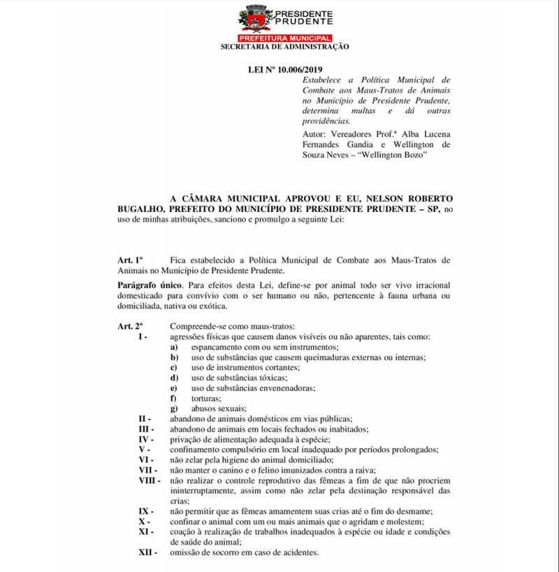 Lei sobre combate de maus-tratos de animais foi publicada pela Prefeitura de Presidente Prudente — Foto: Reprodução/Diário Oficial Eletrônico