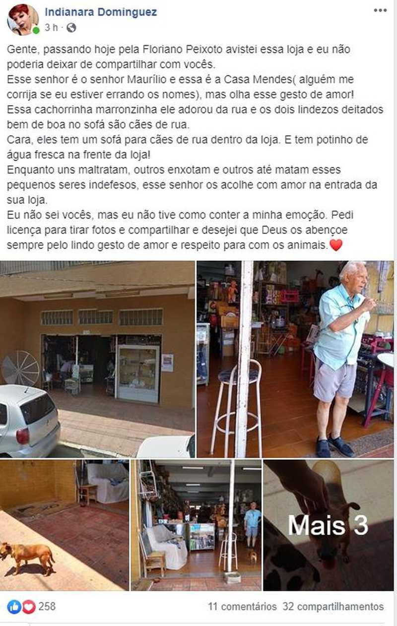 Indianara Dominguez publicou sobre a atitude de seu Maurílio nas redes sociais — Foto: Reprodução/Facebook