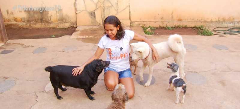 Moradora de Palmas resgata animais que muita gente rejeitaria — Foto: Reprodução/TV Anhanguera
