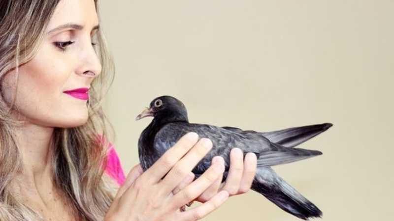 A publicitária Brena Braz costuma resgatar pombos: 'Já perdi a conta de quantos' — Foto: Arquivo pessoal/BBC