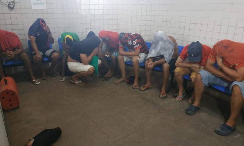 Nove galos e um curió foram apreendidos durante a operação da Polícia Militar neste domingo 29 .