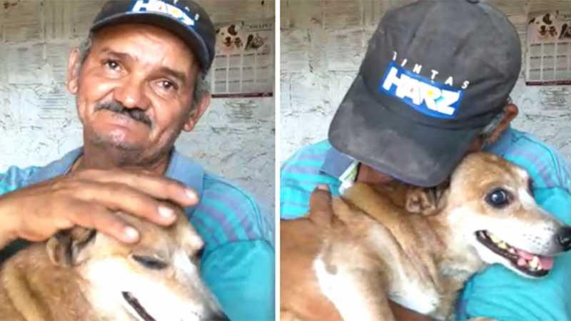 Alcides ficou emocionado ao reencontrar seu cachorrinho. | (Reprodução/Arquivo pessoal)