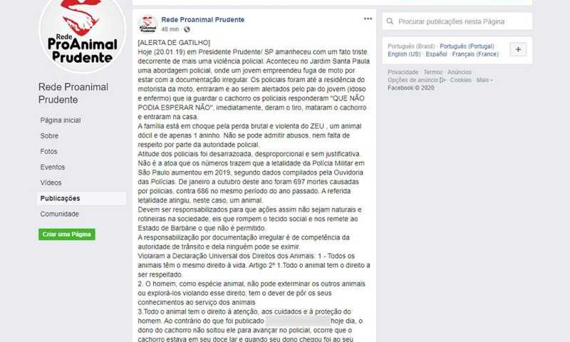 Grupo ativista pelo direito animal fez a publicação em uma rede social — Foto: Reprodução/Facebook