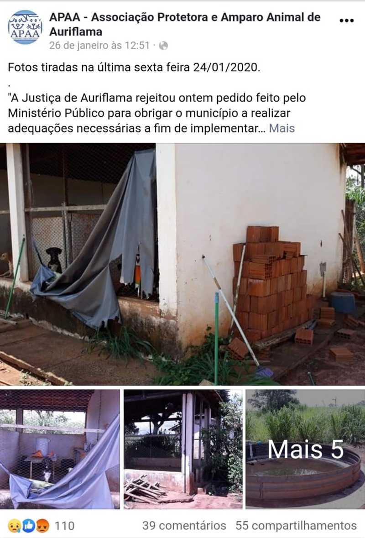 Associação de Auriflama publicou fotos nas redes sociais — Foto: Reprodução/Facebook