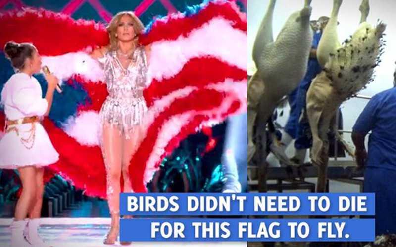 Jennifer Lopez é criticada pelo PETA por bandeira feita de penas