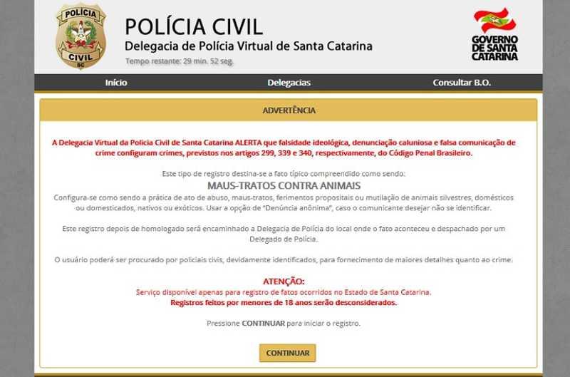 Delegacia Virtual de Santa Catarina lança registro on-line de maus-tratos a animais
