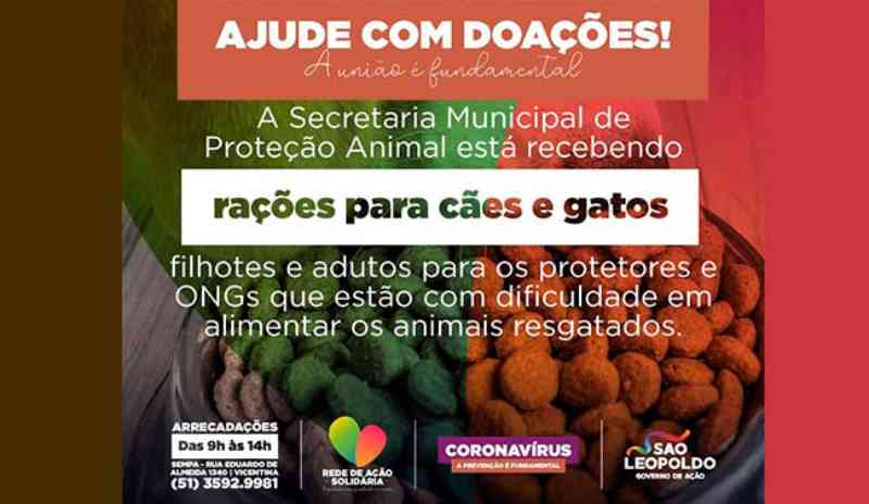 Campanha arrecada rações para cães e gatos em São Leopoldo, RS