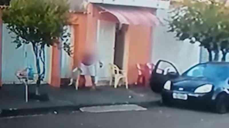 Vídeo mostra agressão a cachorra em calçada no Quintino II, em Ribeirão Preto, SP
