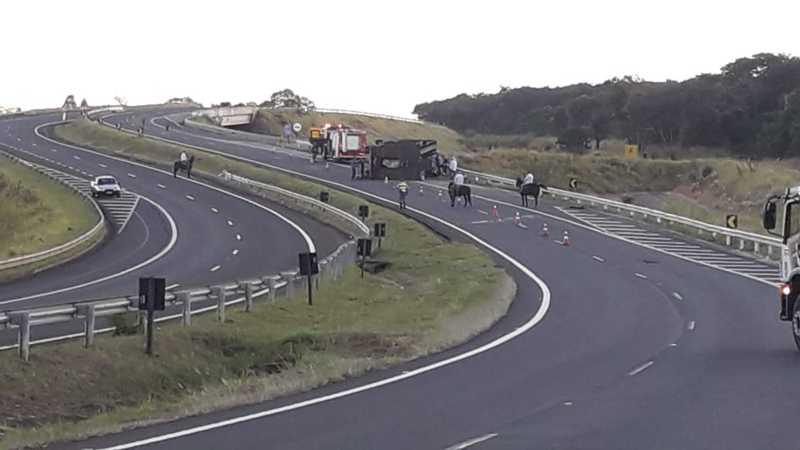 Caminhão tombou na Rodovia Cezário José de Castilho entre Bauru e Arealva — Foto: Arquivo pessoal