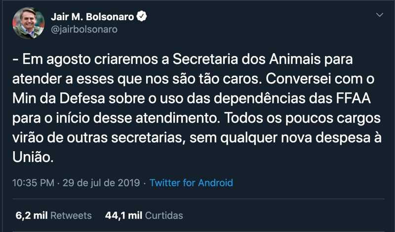 Deputado volta a cobrar do Governo Federal criação de secretaria em prol dos animais