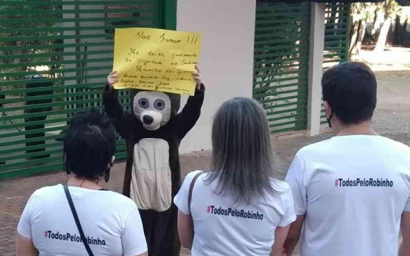 Protesto pede transferência do urso Robinho do Zoológico de Goiânia para santuário em SP