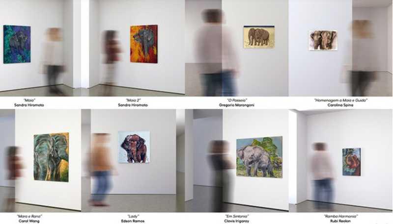 Obras estão disponíveis para ofertas no leilão do Santuário de Elefantes — Foto: SEB/Reprodução