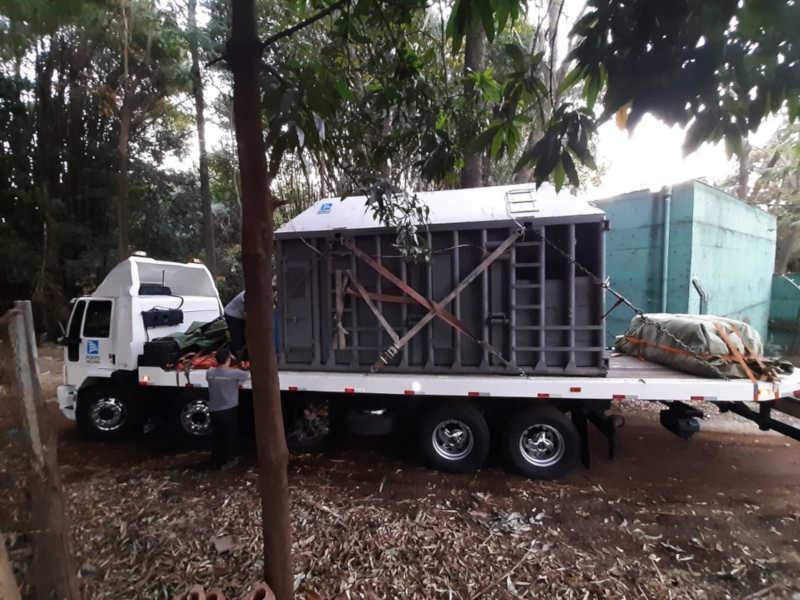 Caminhão com elefanta Bambi deixa Ribeirão Preto (SP) rumo ao Santuário de Elefantes do Brasil — Foto: Marcius Ariel / CBN Ribeirão
