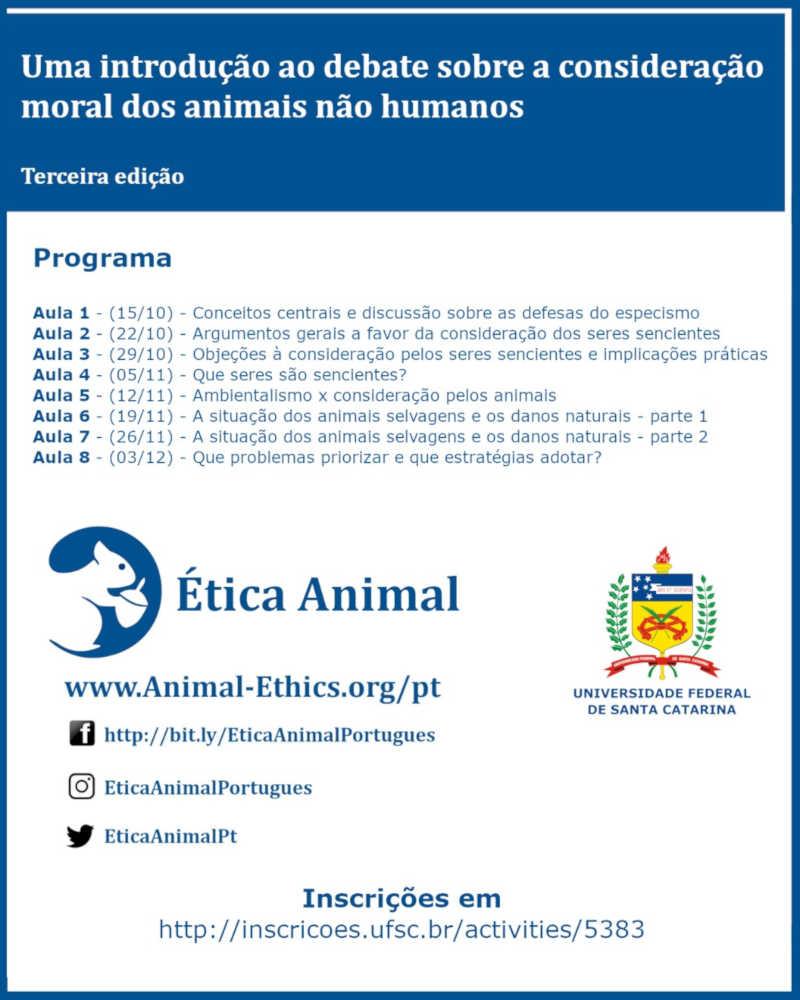 Curso gratuito na UFSC apresenta introdução ao debate sobre a consideração moral dos animais