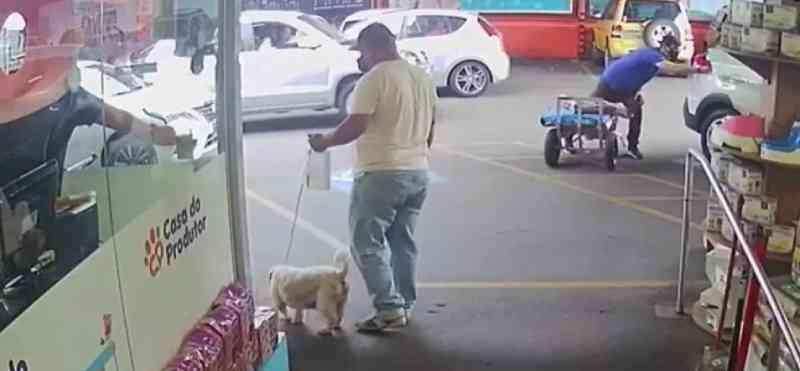 Homem disfarça e abandona cão em pet shop no Rebouças, em Curitiba, PR; câmera mostra tudo