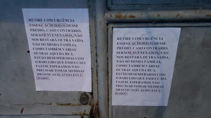 Cachorros são ameaçados de morte em cartazes pregados em portão de galpão em Fortaleza, CE