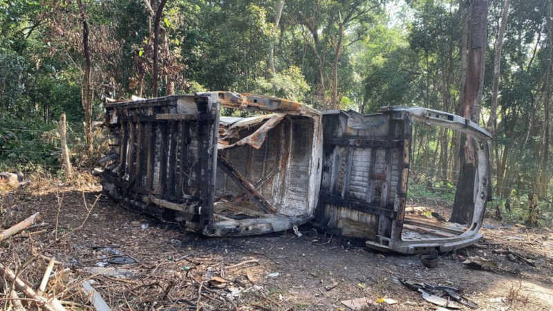 Van foi incendiada em matagal na zona leste de SP. — Foto: Divulgação/Polícia Civil