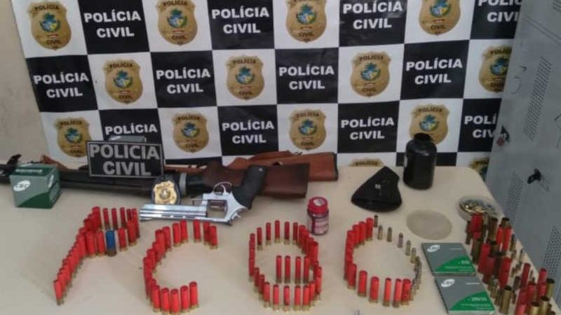 Armas e munições apreendidas pela Polícia Civil em Mineiros, Goiás — Foto: Divulgação/Polícia Civil