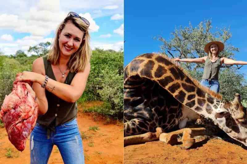 Mulher posa com coração de girafa que matou e defende que a caça salva animais