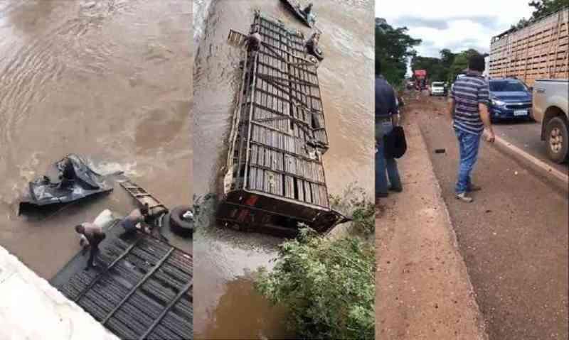 Caminhão boiadeiro cai de ponte e mais de 15 animais morrem afogados em MT