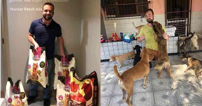 Médico abre mão de salário e atende pessoas em troca de ração para ajudar animais abandonados