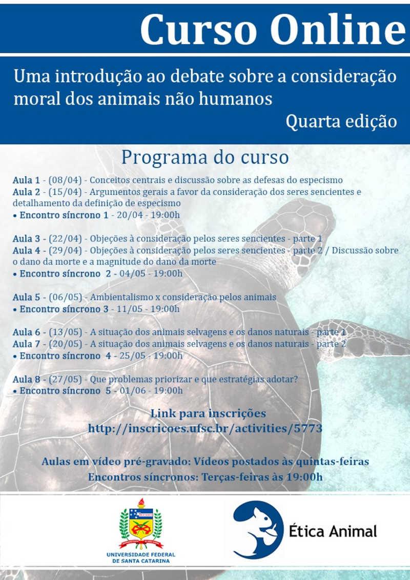 Abertas as inscrições para 4ª edição de curso da ONG Ética Animal em parceria com UFSC