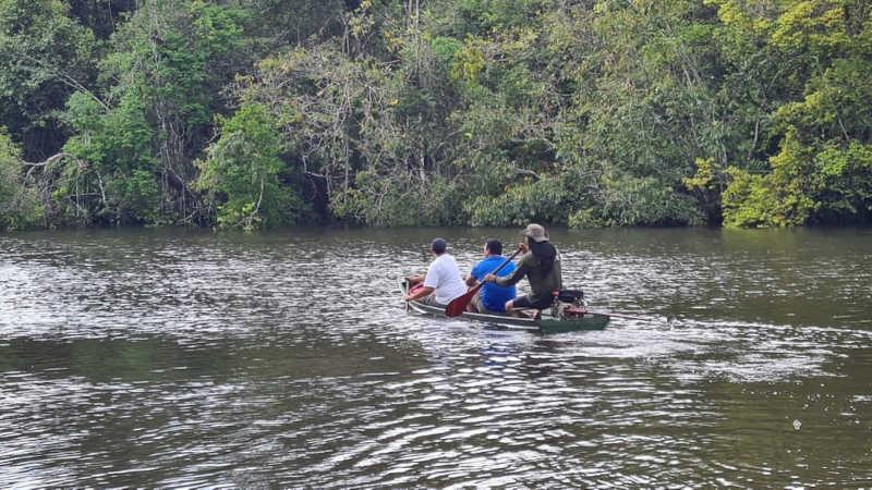 Boto foi localizado por moradores do Ariri, Zona Rural de Macapá — Foto: Batalhão Ambiental/Divulgação