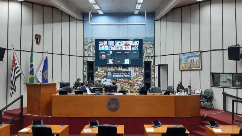 Sessão remota da Câmara Municipal de Ribeirão Preto (Foto: Naiana Kennedy/CBN Ribeirão Preto)