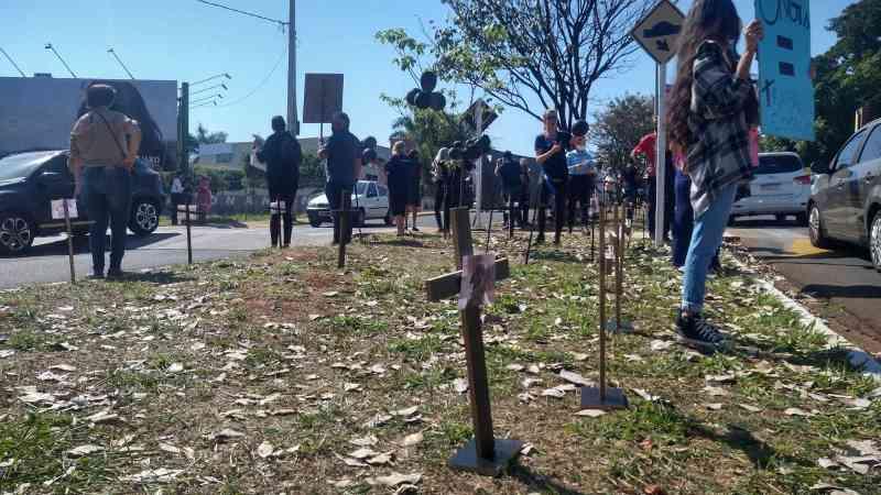 Cruzes foram colocadas no canteiro representando animais mortos (Foto: Cristiano Arruda)