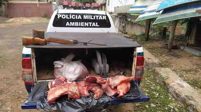 Caçadores carregavam 42 kg de carne de cateto. Foto: Divulgação/ PMA