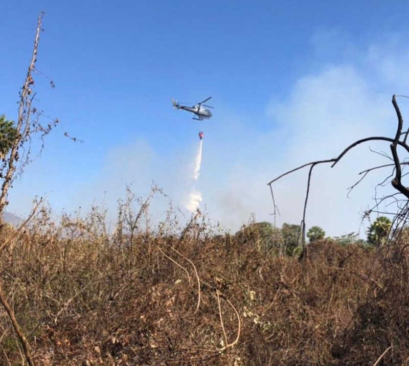 Bombeiros atuam na fronteira com o apoio da Marinha — Foto: Corpo de Bombeiros/Divulgação