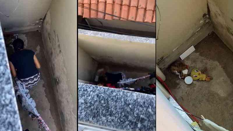 Mulher é filmada por vizinhos agredindo filhote de cachorro, no Piauí. — Foto: Reprodução