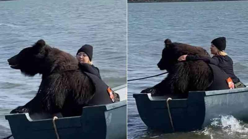 Mulher viraliza ao pescar com urso resgatado de parque falido (Foto: Reprodução/YouTube Caters Clips)
