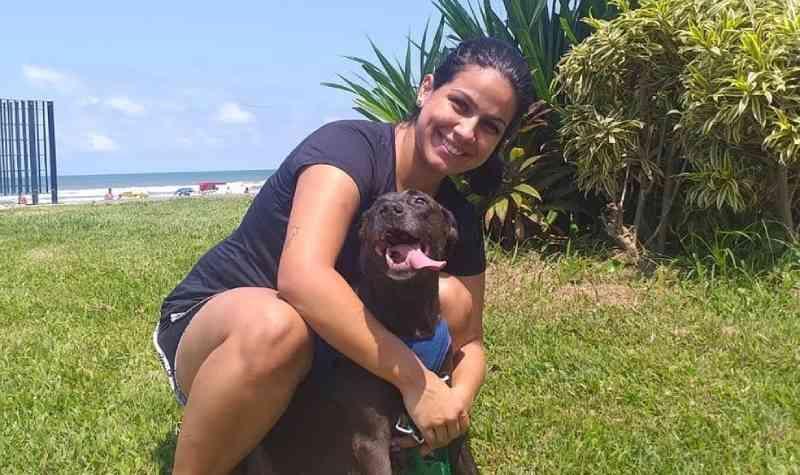 Cadela tem olho retirado após ser atropelada por trem, se recupera e é adotada por veterinária no litoral de SP