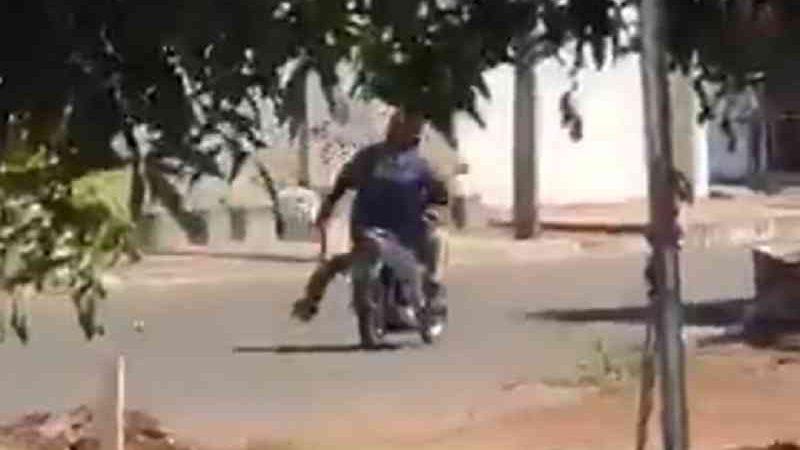 Homem carregando cachorro pendurado por pata — Foto: Reprodução