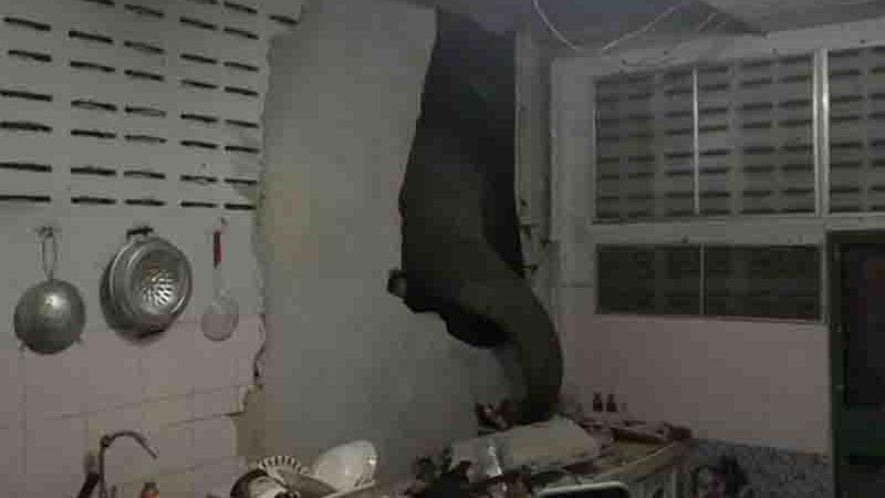 Elefante procura comida na cozinha de casa em Pa La-U, Hua Hin, na Tailândia. A foto foi tirada pela dona do imóvel, Radchadawan Peungprasopporn, em 23 de julho de 2021. Foto: Facebook/Radchadawan Peungprasopporn