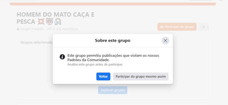 """Facebook alerta usuários sobre violações de suas políticas no grupo """"Homem do Mato Caça e Pesca"""". Reprodução/ Facebook"""