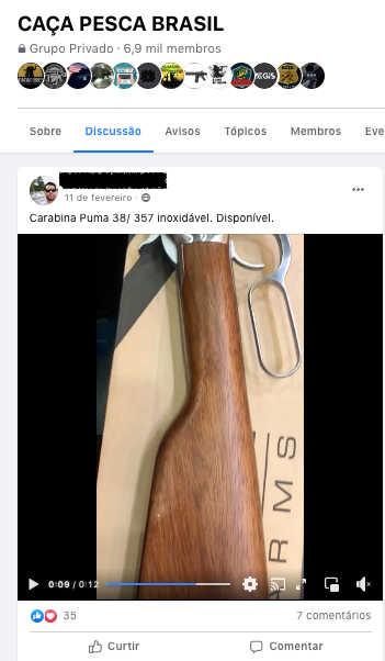 """Caçador oferece arma para venda no grupo """"Caça e Pesca Brasil"""". Reprodução/ Facebook"""
