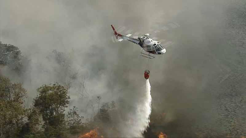 Helicóptero da Polícia Militar atuando no combate ao incêndio no Parque Estadual Juquery, em Franco da Rocha, Grande SP — Foto: Reprodução/TV Globo
