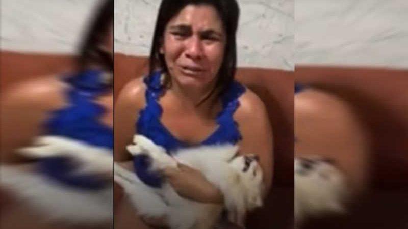 Aos prantos e com cachorro morto no colo, mulher critica pet shop: 'Era meu filho'