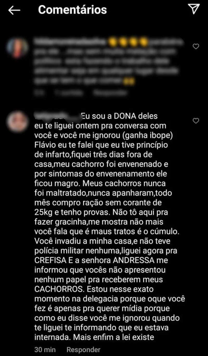 Comentário maus-tratos Divinópolis — Foto: Reprodução/Instagram