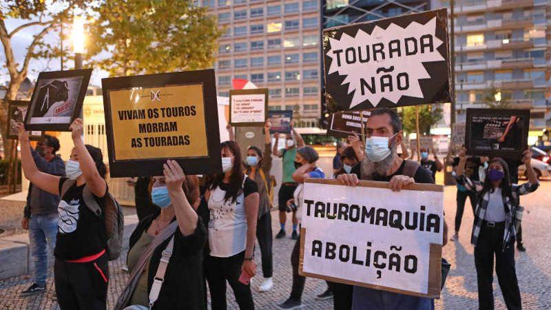 Mais de 50 pessoas protestaram contra as touradas no Campo Pequeno, em Lisboa