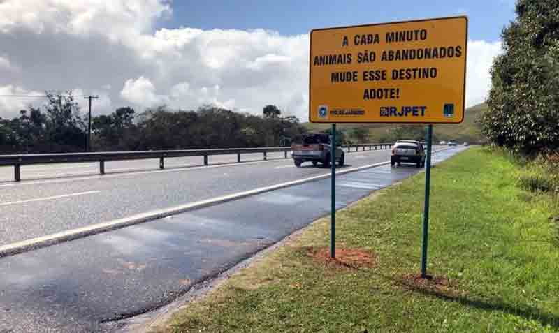 Placas contra abandono de animais em estradas são instaladas na Via Lagos, no RJ