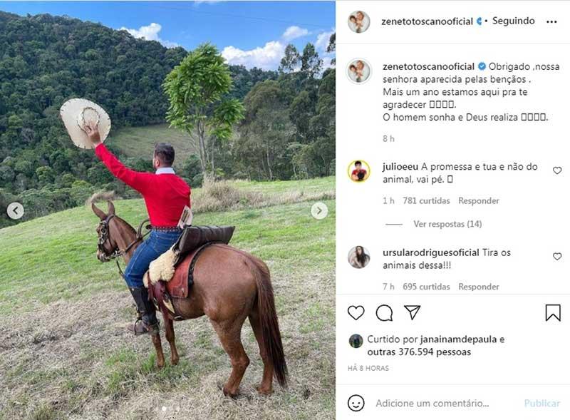 Romaria de Zé Neto foi alvo de críticas nas redes sociais — Foto: Reprodução/Instagram