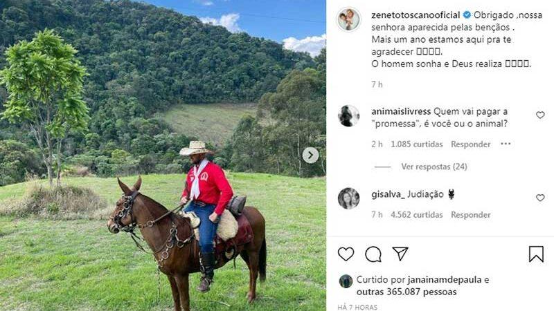 Cantor Zé Neto durante romaria a Aparecida — Foto: Reprodução/Instagram